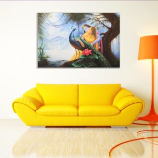 Canvas Painting - Beautiful Radha Krishna Peacock Art Wall Painting for Living Room