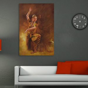 Canvas Painting – Beautiful Bharatnatyam – Indian Classic Dancer Art Wall Painting for Living Room, Bedroom, Office, Hotels, Drawing Room (61cm X 91cm)
