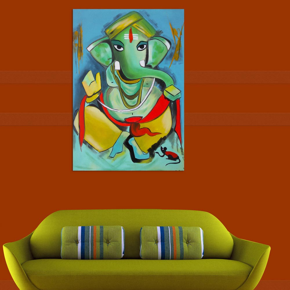 Canvas Painting Beautiful Lord Ganesha Art Wall Painting For Living Room Bedroom Office Hotels Drawing Room 61cm X 91cm