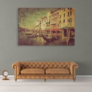 Canvas Painting – Beautiful Vintage Venice Italy Art Wall Painting for Living Room, Bedroom, Office, Hotels, Drawing Room (91cm X 61cm)
