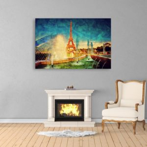 Canvas Painting – Beautiful Eiffel Tower Art Wall Painting for Living Room, Bedroom, Office, Hotels, Drawing Room (91cm X 61cm)