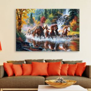 Canvas Painting – 7 Horses Running Vastu Wall Painting for Living Room, Bedroom, Office, Hotels, Drawing Room (91cm X 61cm)