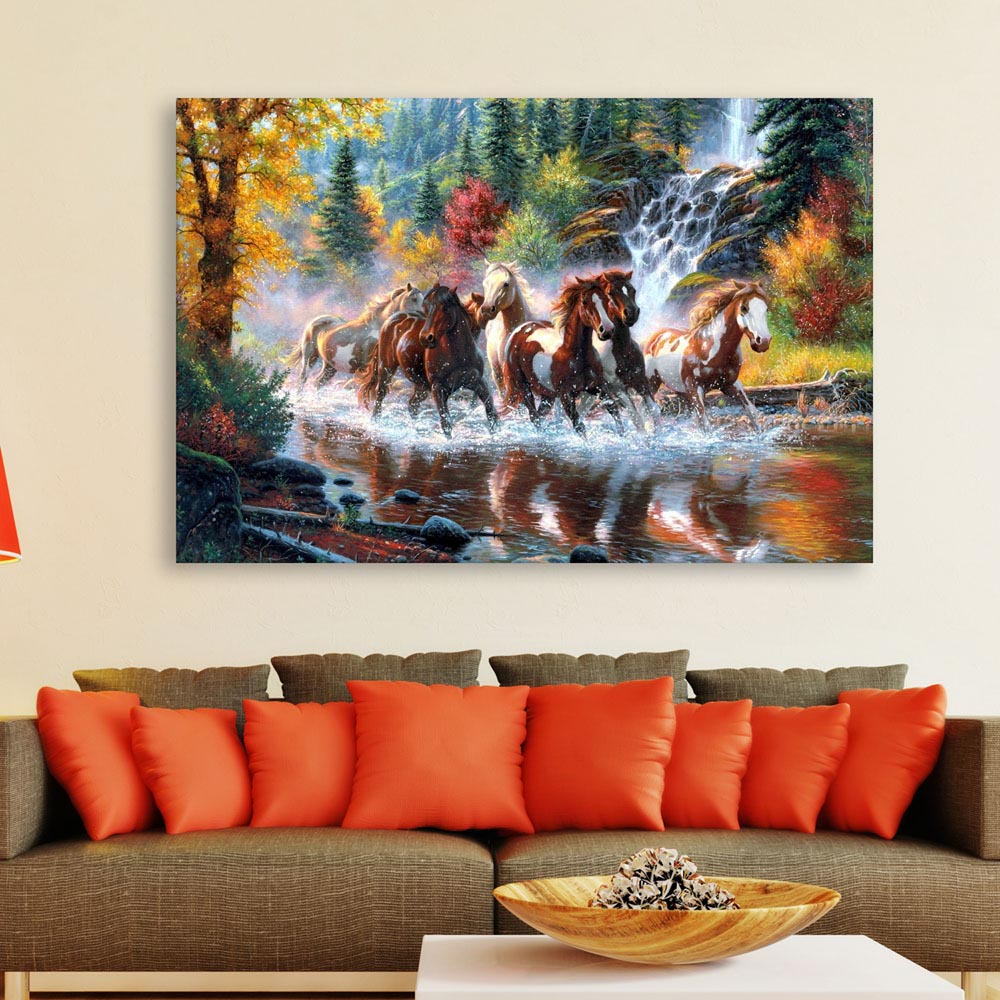 Canvas Painting 7 Horses Running Vastu Wall Painting For Living Room Bedroom Office Hotels Drawing Room 91cm X 61cm Inephos