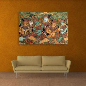 Canvas Painting – Kerala Mural Art Wall Painting for Living Room, Bedroom, Office, Hotels, Drawing Room (91cm X 61cm)