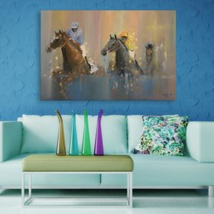 Canvas Painting – Horses Running Wall Painting for Living Room, Bedroom, Office, Hotels, Drawing Room (91cm X 61cm)