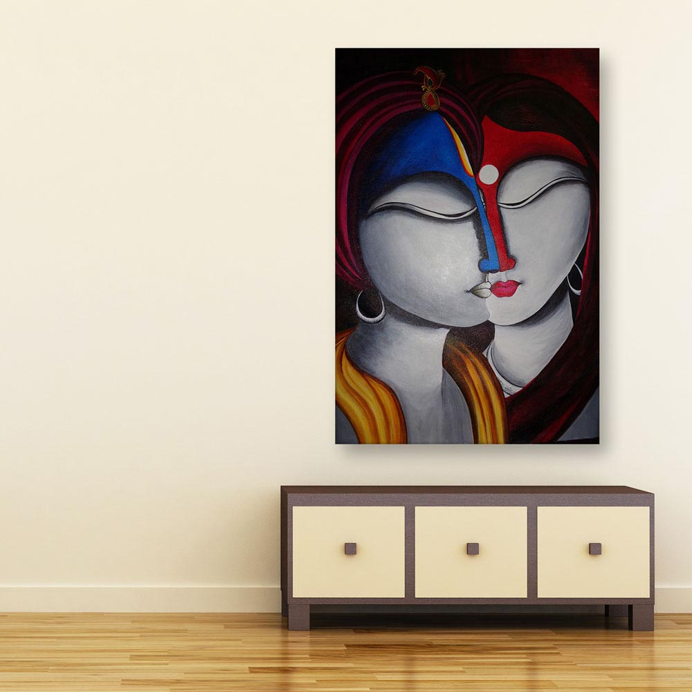 Canvas Painting Beautiful Radha Krishna Art Wall Painting For Living Room Bedroom Office Hotels Drawing Room 91cm X 61cm