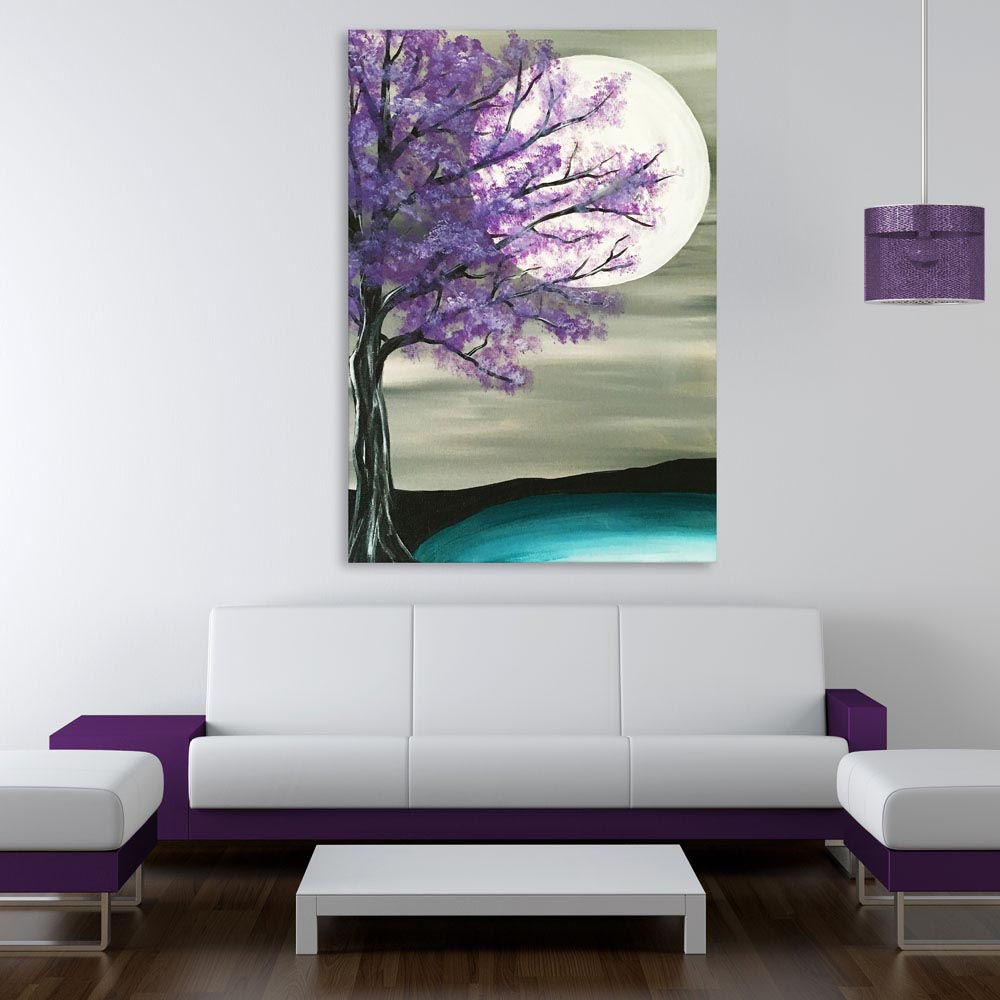 Canvas Painting Beautiful Tree At Night Art Wall Painting For Living Room Bedroom Office Hotels Drawing Room 91cm X 61cm