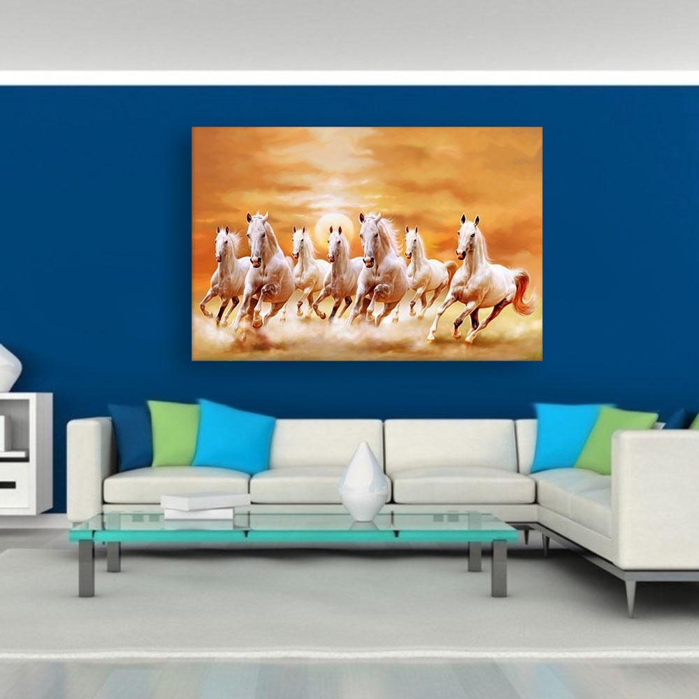 Etonnant Canvas Painting   7 Horses Running Vastu Wall Painting For Living Room