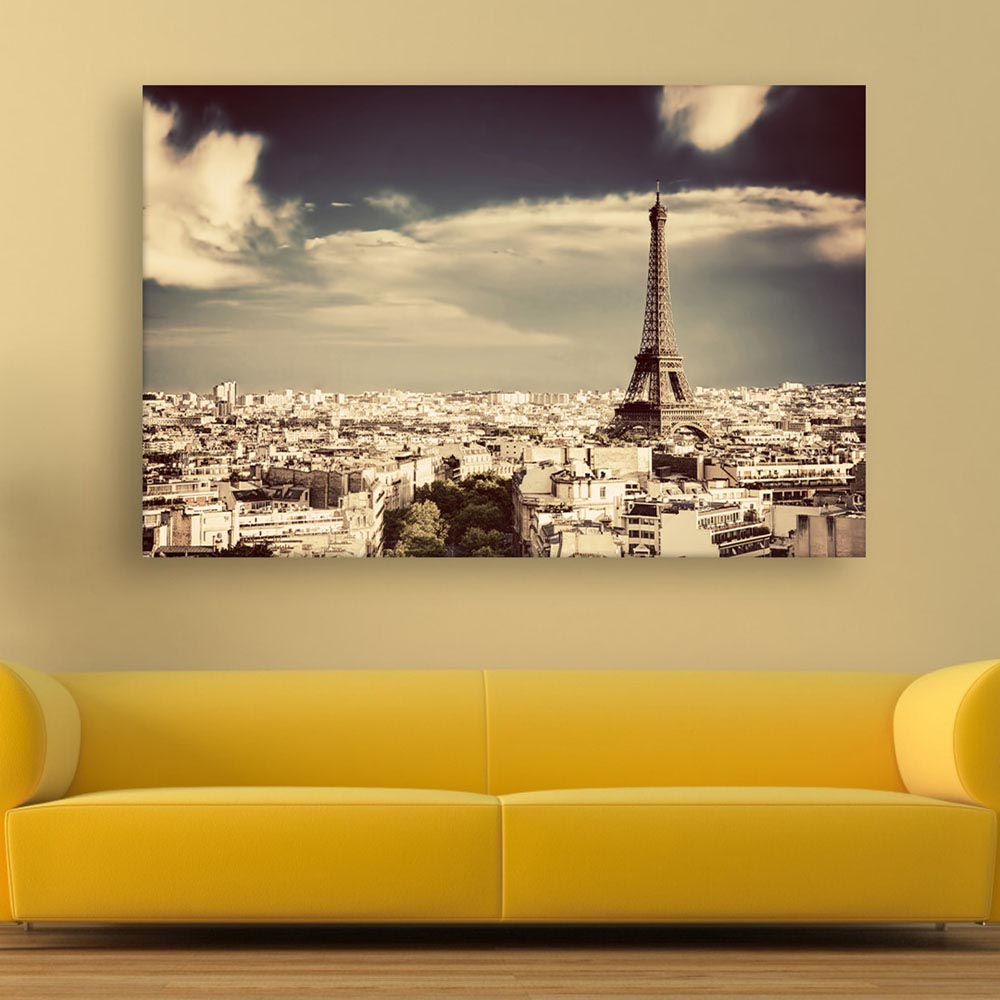 Canvas Painting - Beautiful Eiffel Tower Wall Painting for Living ...