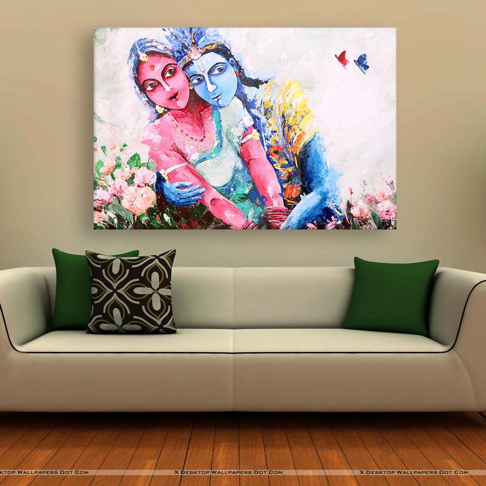 50 Beautiful Wall Painting Ideas And Designs For Living: Beautiful Radha Krishna Art Wall