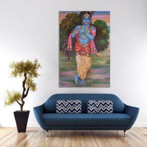 Canvas Painting – Lord Krishna Art Modern Wall Painting for Living Room, Bedroom, Office, Hotels, Drawing Room (91cm X 61cm)