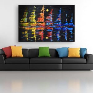 Canvas Painting – Beautiful Ships In Ocean At Night Art Modern Wall Painting for Living Room, Bedroom, Office, Hotels, Drawing Room (91cm X 61cm)
