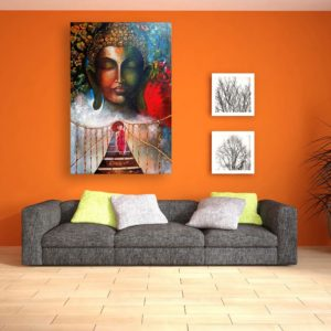 Canvas Painting – Beautiful Buddha And A Monk Art Wall Painting for Living Room, Bedroom, Office, Hotels, Drawing Room (91cm X 61cm)