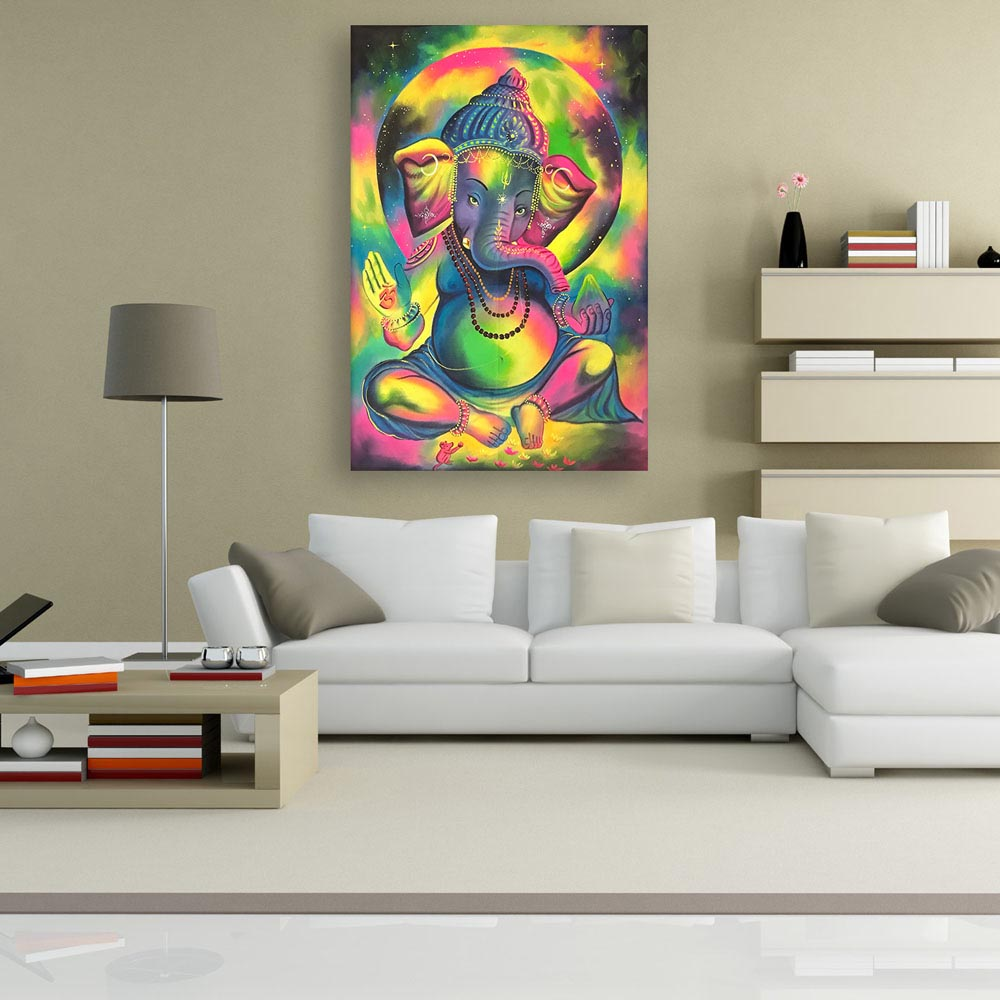 Canvas Painting Modern Lord Ganesha Art Religious Wall Painting For Living Room Bedroom Office Hotels Drawing Room 91cm X 61cm