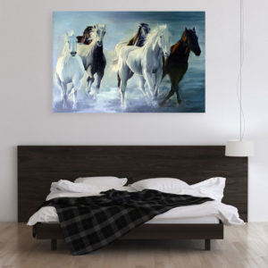Canvas Painting – Beautiful Horses Running Vastu Art Wall Painting for Living Room, Bedroom, Office, Hotels, Drawing Room (91cm X 61cm)