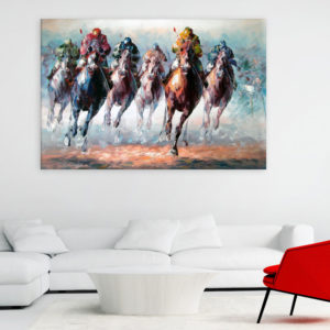 Canvas Painting – Horse Racing Illustration Art Wall Painting for Living Room, Bedroom, Office, Hotels, Drawing Room (91cm X 61cm)