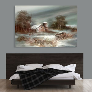 Canvas Painting – Beautiful Village Scene Art Wall Painting for Living Room, Bedroom, Office, Hotels, Drawing Room (91cm X 61cm)