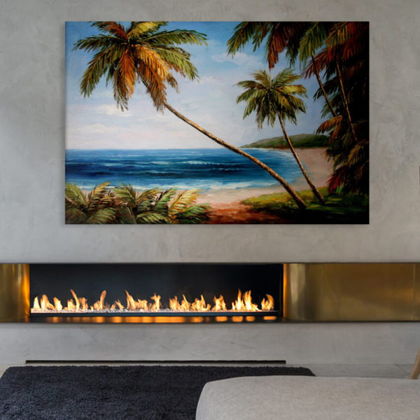 Canvas Painting - Beautiful Nature Beach Illustration Art Wall Painting for Living Room