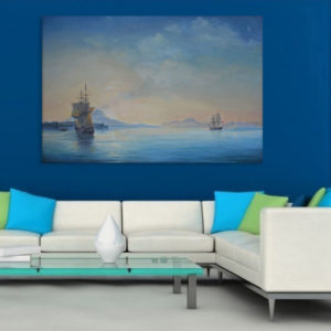 Canvas Painting – Beautiful Ships in Ocean Art Wall Painting for Living Room, Bedroom, Office, Hotels, Drawing Room (91cm X 61cm)