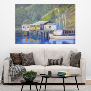 Canvas Painting – Beautiful Lake Houses Art Wall Painting for Living Room, Bedroom, Office, Hotels, Drawing Room (91cm X 61cm)