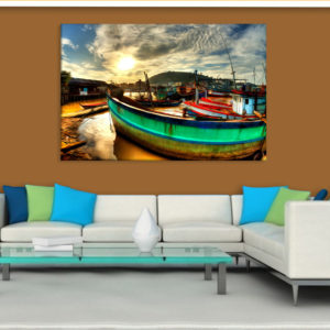 Canvas Painting – Beautiful Ships In Lake Illustration Art Wall Painting for Living Room, Bedroom, Office, Hotels, Drawing Room (91cm X 61cm)