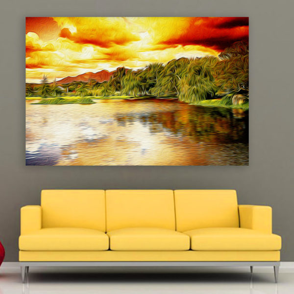 Canvas Painting - Beautiful Lake Art Wall Painting for Living Room