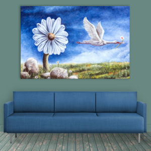 Canvas Painting – Beautiful Flower & Bird Illustration Art Wall Painting for Living Room, Bedroom, Office, Hotels, Drawing Room (91cm X 61cm)