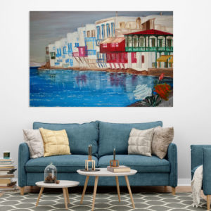 Canvas Painting – Beautiful Houses on a Lake Art Wall Painting for Living Room, Bedroom, Office, Hotels, Drawing Room (91cm X 61cm)