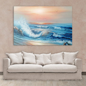 Canvas Painting – Beautiful Ocean Waves Nature Art Wall Painting for Living Room, Bedroom, Office, Hotels, Drawing Room (91cm X 61cm)