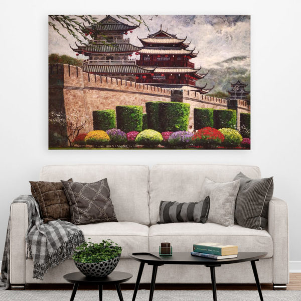 Canvas Painting - Beautiful Buddhist Monastery Art Wall Painting for Living Room