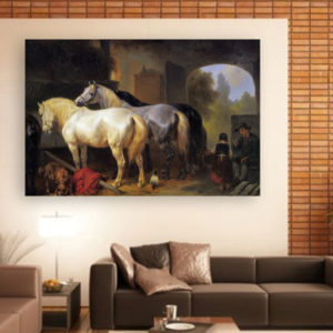 Canvas Painting – Beautiful Horses Stable Art Wall Painting for Living Room, Bedroom, Office, Hotels, Drawing Room (91cm X 61cm)