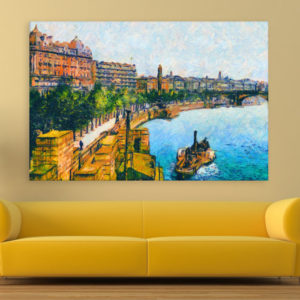 Canvas Painting – Thames Embankment Art Wall Painting for Living Room, Bedroom, Office, Hotels, Drawing Room (91cm X 61cm)