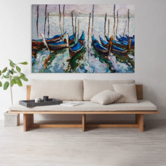 Canvas Painting - Beautiful Boats In Lakes Art Wall Painting for Living Room