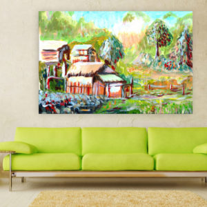 Canvas Painting – Beautiful Village Illustration Art Wall Painting for Living Room, Bedroom, Office, Hotels, Drawing Room (91cm X 61cm)