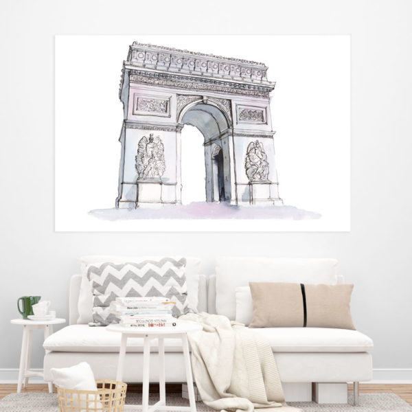 Canvas Painting - Arc De Triomphe Illustration Art Wall Painting for Living Room