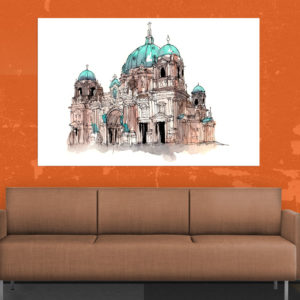 Canvas Painting – Berlin Cathedral Illustration Art Wall Painting for Living Room, Bedroom, Office, Hotels, Drawing Room (91cm X 61cm)