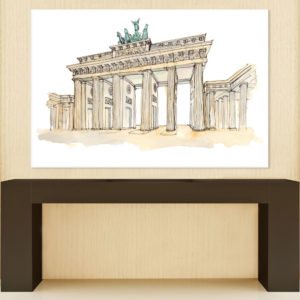 Canvas Painting – Brandenburg Gate Berlin Illustration Art Wall Painting for Living Room, Bedroom, Office, Hotels, Drawing Room (91cm X 61cm)