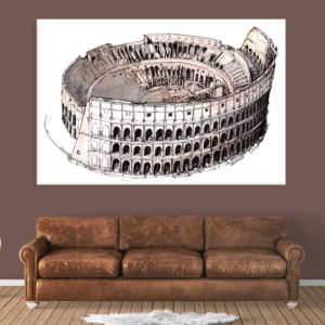 Canvas Painting – Colosseum Rome Italy Illustration Art Wall Painting for Living Room, Bedroom, Office, Hotels, Drawing Room (91cm X 61cm)