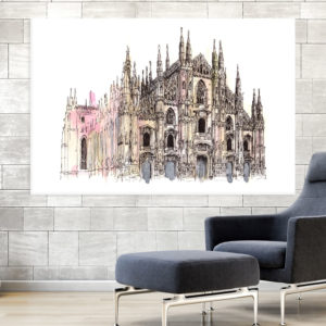Canvas Painting – Milan Cathedral Italy Illustration Art Wall Painting for Living Room, Bedroom, Office, Hotels, Drawing Room (91cm X 61cm)