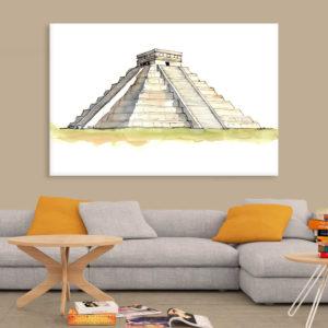 Canvas Painting – El Castillo Chichen Itza Illustration Art Wall Painting for Living Room, Bedroom, Office, Hotels, Drawing Room (91cm X 61cm)