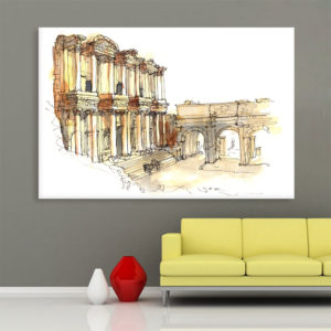 Canvas Painting – Ephesus Turkey Illustration Art Wall Painting for Living Room, Bedroom, Office, Hotels, Drawing Room (91cm X 61cm)