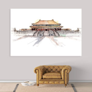 Canvas Painting – Forbidden City Beijing China Illustration Art Wall Painting for Living Room, Bedroom, Office, Hotels, Drawing Room (91cm X 61cm)