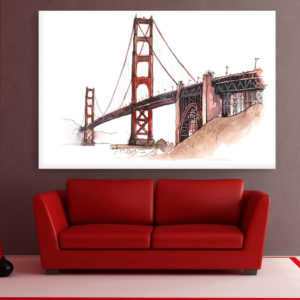 Canvas Painting – Golden Gate Bridge Illustration Art Wall Painting for Living Room, Bedroom, Office, Hotels, Drawing Room (91cm X 61cm)