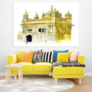 Canvas Painting – Golden Temple Amritsar Illustration Art Wall Painting for Living Room, Bedroom, Office, Hotels, Drawing Room (91cm X 61cm)