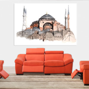 Canvas Painting – Hagia Sophia Turkey Illustration Art Wall Painting for Living Room, Bedroom, Office, Hotels, Drawing Room (91cm X 61cm)