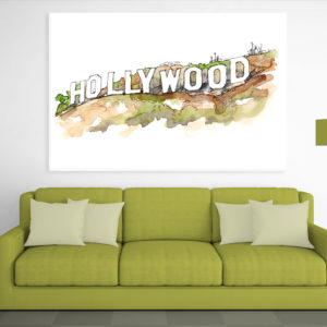 Canvas Painting – Hollywood Los Angeles Sign Illustration Art Wall Painting for Living Room, Bedroom, Office, Hotels, Drawing Room (91cm X 61cm)