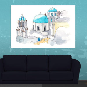 Canvas Painting – Imerovigli Village Greece Illustration Art Wall Painting for Living Room, Bedroom, Office, Hotels, Drawing Room (91cm X 61cm)