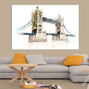 Canvas Painting – London Bridge UK Illustration Art Wall Painting for Living Room, Bedroom, Office, Hotels, Drawing Room (91cm X 61cm)