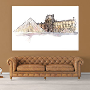 Canvas Painting – Louvre Museum Paris Illustration Art Wall Painting for Living Room, Bedroom, Office, Hotels, Drawing Room (91cm X 61cm)