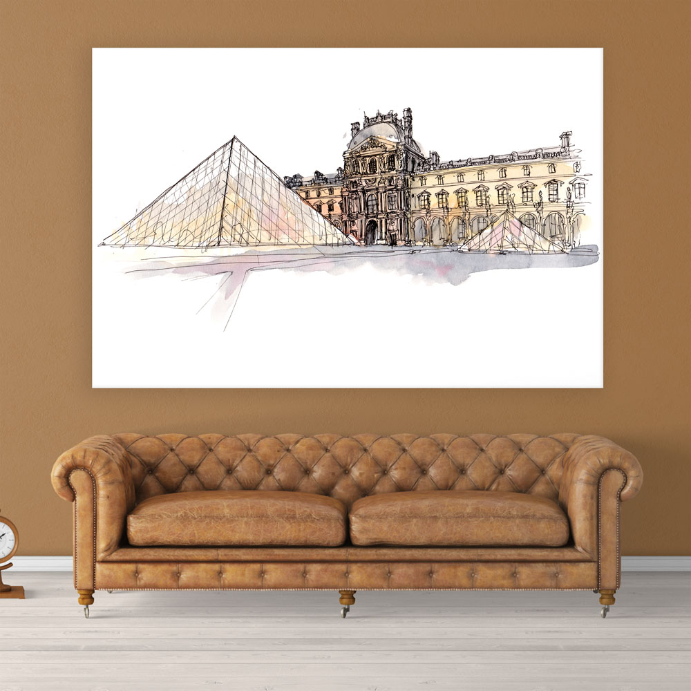 Canvas Painting Louvre Museum Paris Illustration Art Wall Painting For Living Room Bedroom Office Hotels Drawing Room 91cm X 61cm